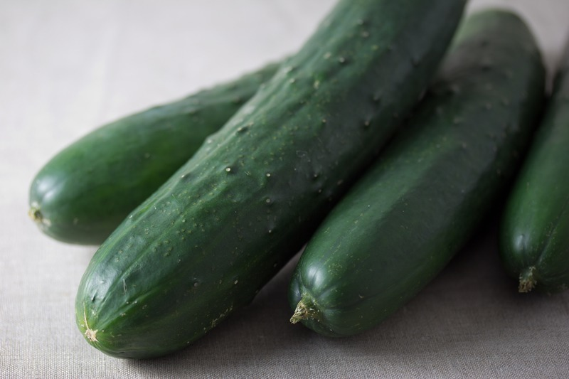 Clean, fresh, organic cucumbers